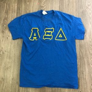 blue and yellow alpha xi delta iron on tee